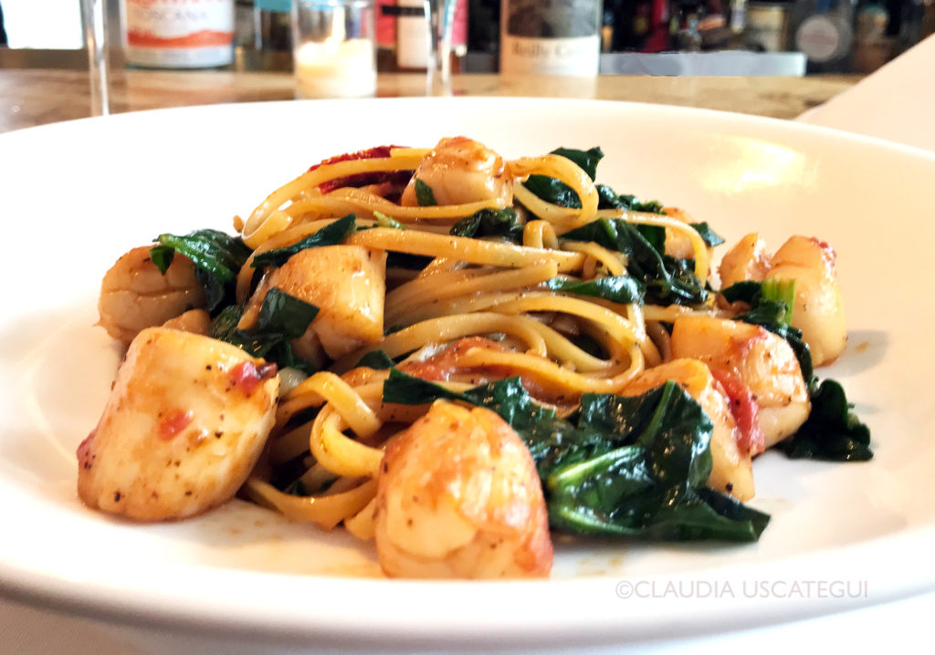 Pasta with Peconic Bay Scallops, Spinach and Sun-dried Tomatoes iL Giardino Style